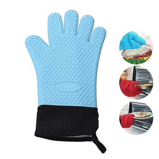 KOBWA Guantes de silicona para horno resistentes al calor, guantes ...