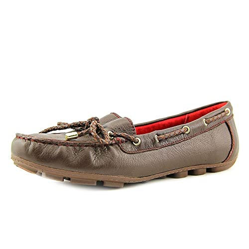 a784f814699 White Mountain Womens Shoes Flats Brown Leather Surf Moccasin Loafers Slip  on Great For Driving Size