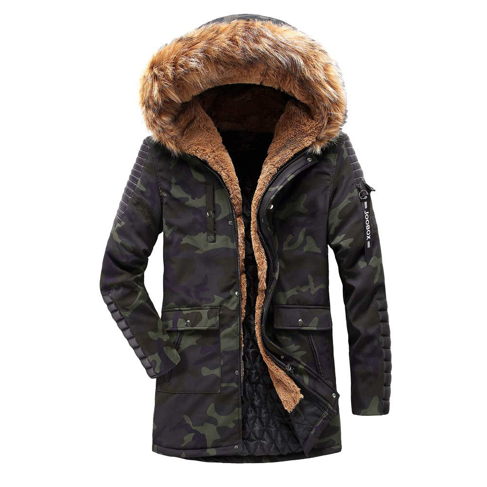 YKARITIANNA Men's Hunting Coats, 2019 New Spring with Pocket Camo Long Sleeve Hooded Camouflage Thick Cotton Jacket by YKARITIANNA Mens Tops