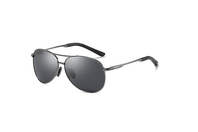 Aoron - Gafas de sol unisex polarizadas de aluminio para aviador, gafas de sol vintage