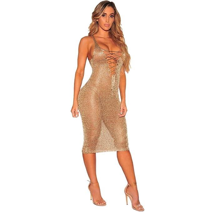 TUDUZ Damen Bodycon Camouflage Gaze Durchsichtig Sheer Kleider Abendkleid  Pailletten Partykleid (Gold -A, 5932f472d9