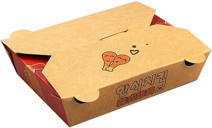 Fiambrera desechable de papel kraft - Caja de embalaje para llevar de comida para llevar de filete de pasta de pollo frito [paquete de 100] (Color : 1100ML): Amazon.es: Hogar