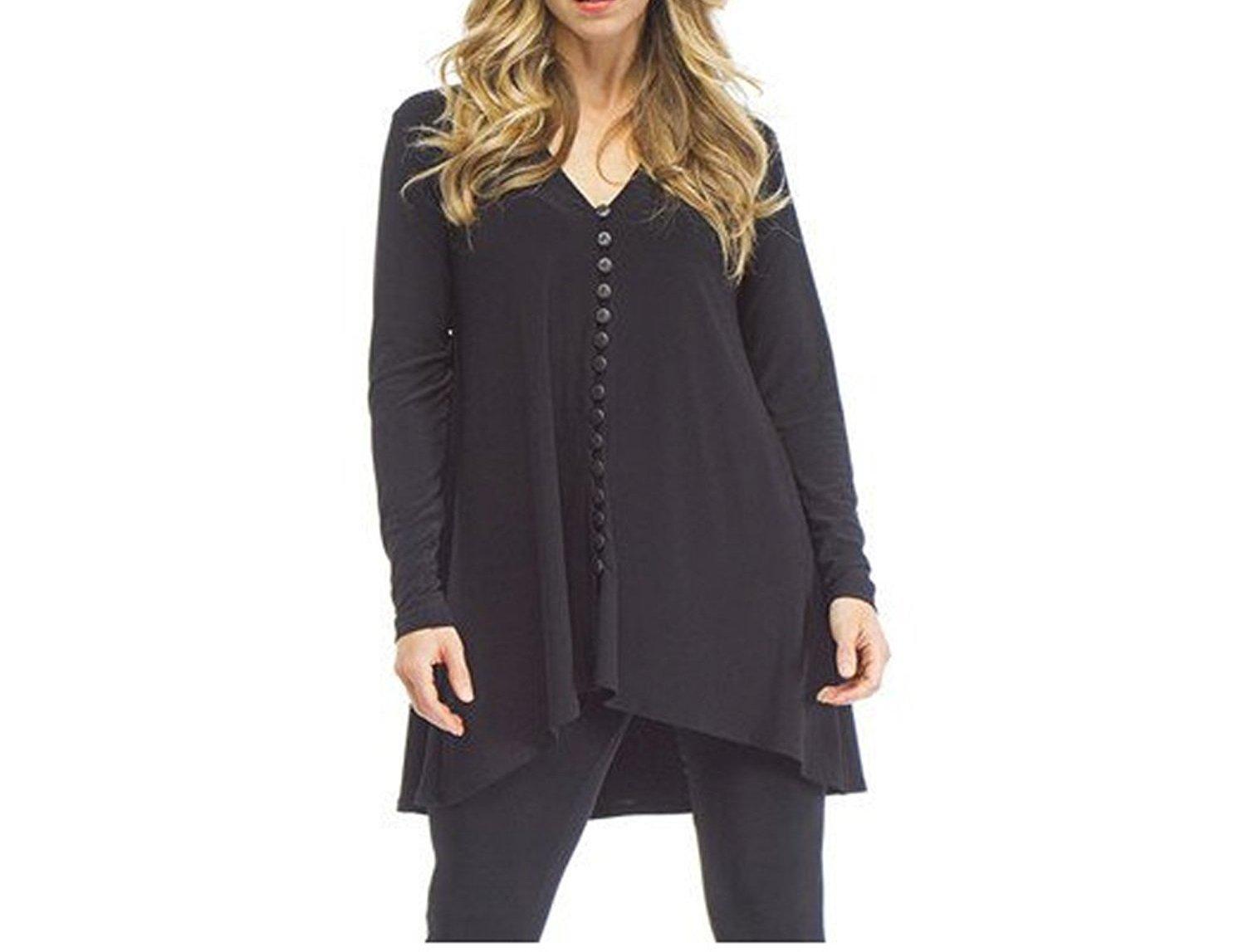Sympli Women's Barely Dress Fingertip (Black,4)