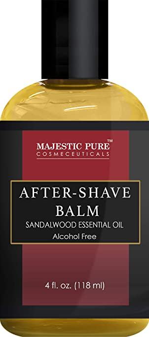 After Shave Balm for Men with Sandalwood Essential Oil by Majestic Pure - Moisturizing and Nourishing Aftershave Lotion, for Silky Smooth Shaving, 4 fl oz