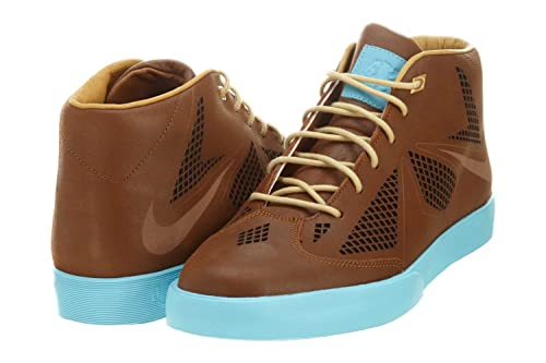 free shipping a0a5e 72081 Nike Lebron X NSW Lifestyle NRG James Sportswear Casual Shoes Brown Blue 8  D(M) US  Amazon.in  Shoes   Handbags