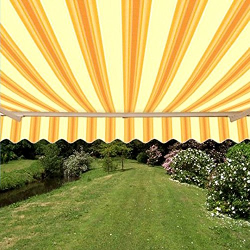 Retractable Canvas Awnings - ALEKO AW12X10MSTRY315 Retractable Patio Awning 12 x 10 Feet Multi-Stripe Yellow