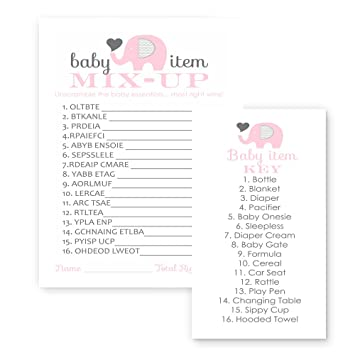 Pink Elephant Baby Shower Game Word Scramble ( 25 Pack )