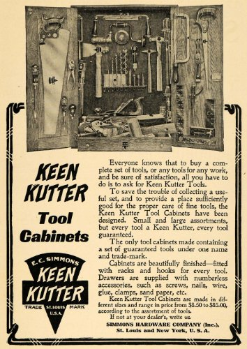 1908 Ad E C Simmons Hardware Vintage Keen Kutter Tool Cabinets Household Home - Original Print Ad from PeriodPaper LLC-Collectible Original Print Archive