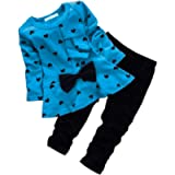 Csbks Baby Girl Long Sleeve Pant Sets Toddler Bow Sweetheart Clothing 2pcs Outfits