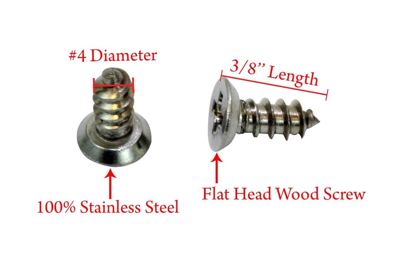 Stainless Steel Screw by Bolt Dropper 25 pc 18-8 #12 X 2 Stainless Flat Head Phillips Wood Screw, 304