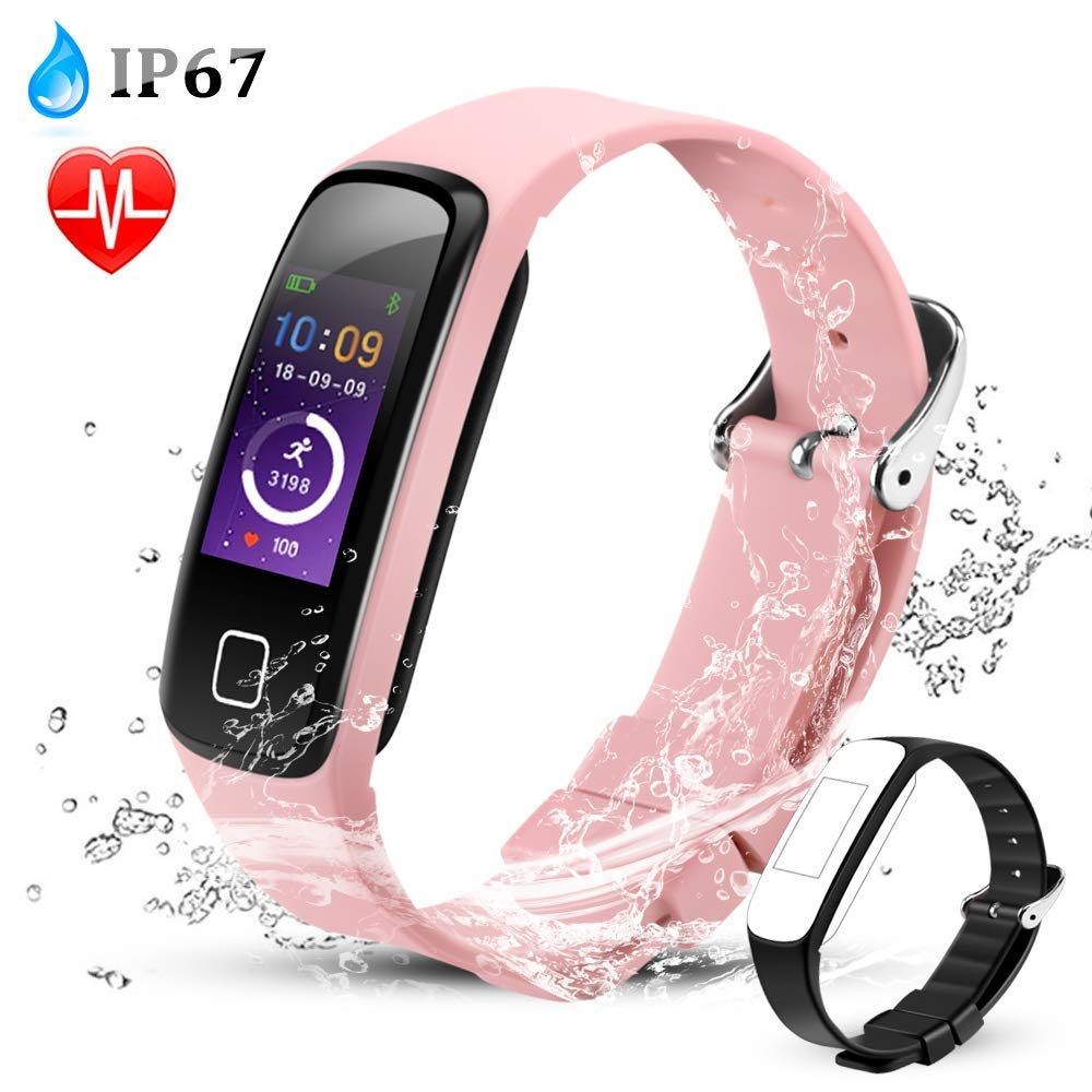AGPTEK Color Screen Fitness Tracker, Smart Wristband with Sport Band Heart Rate Sleep Monitor Blood Pressure Pedometer Calorie Counter Notifications for iOS ...
