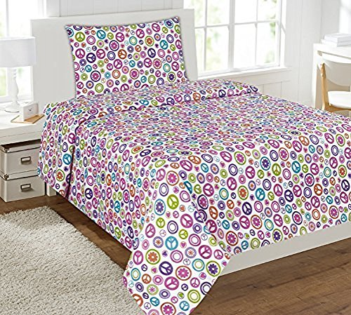 Elegant Home Multicolor Pink White Purple Blue Green Peace Sign Themed Design 3 Piece Printed Sheet Set with Pillowcase Flat Fitted Sheet for Girls / Kids/ Teens # Peace White (Twin Size)