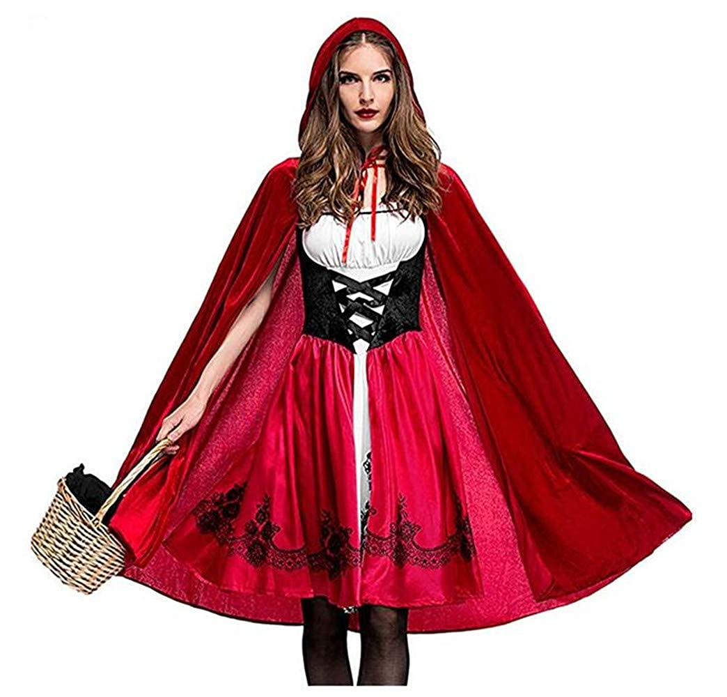 Happyjiu Women's Little Red Riding Hood Halloween Cosplay Costume Make up Party Dress polyester