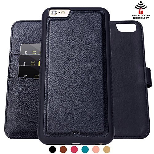 Iphone 6 Plus Case,Shanshui Rfid Protection Two in One Bible Pu Flip Case and Tpu+pc Back Cover (Black 5.5'')