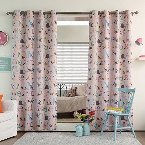 "Best Home Fashion Room Darkening Alphabet Print Curtains - Stainless Steel Nickel Grommet Top - Pink - 52""W x 84""L - (Set of 2 Panels)"