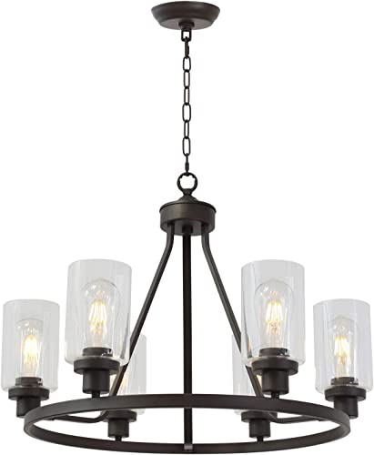 MELUCEE 6-Light Glass Chandelier Farmhouse Lighting