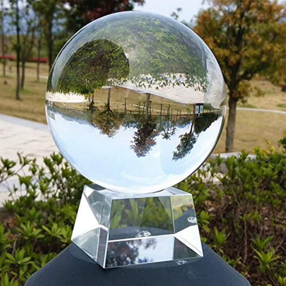 HomDSim Clear Crystal Ball Art Decor K9 Crystal Prop for Photography Decoration (90MM with Crystal Stand)