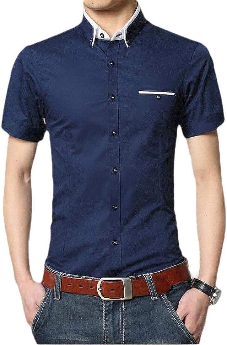 Keaac Mens Business Dress Shirt Short-Sleeve Slim Fit Button Down Shirt