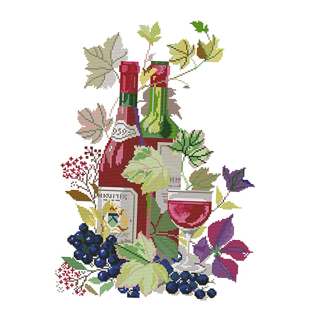 SM SunniMix Wine in Life Cross Stitch Stamped Kits Pre-Printed Cross-Stitching Starter Patterns for Beginner Kids or Adults Embroidery Needlepoint Kits