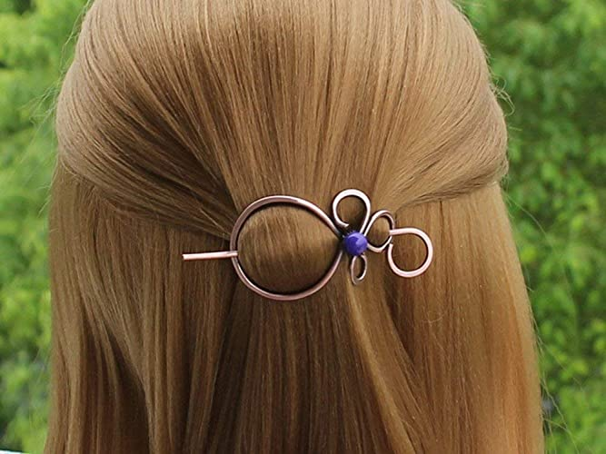Volcanic lava Celtic hair pin Copper hair pin Unique hair barrette Copper jewelry  Copper hair slide Scarf brooch Shawl brooch Scarf pin