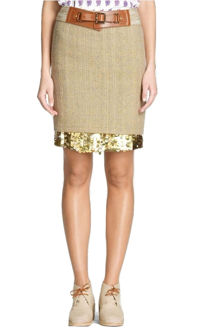 Tory Burch Gordie Rugged-chic Burlap Sequined Pencil Skirt Khaki/Gold 4