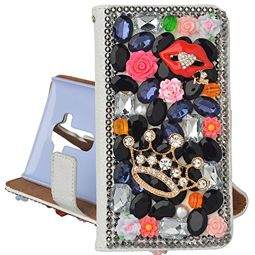 Eel Skin Cell Phone Case - Spritech(TM) PU Leather Bling Phone Case For Iphone 7 4.7inch,Handmade Black Crystal Crown Mouth Accessary Design Cellphone Cover With Card Slots