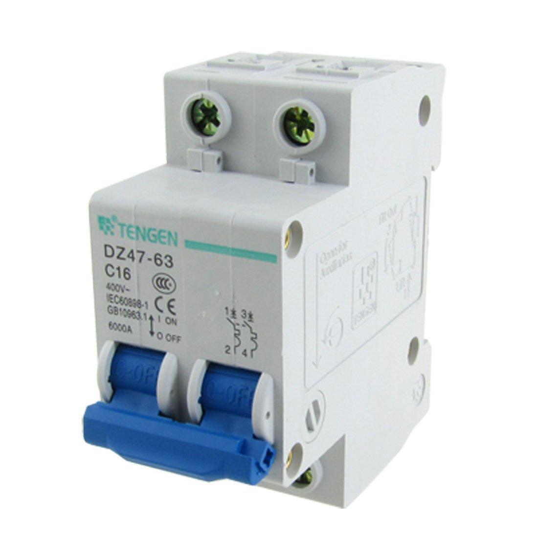 eDealMax AC 400V 16A 2 pôles 2P miniature Disjoncteur 6000A Pouvoir de coupure