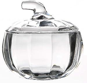 MISS TUTU Pumpkin Shape Crystal Glass Snack Jar Sugar Pot Storage with Lid