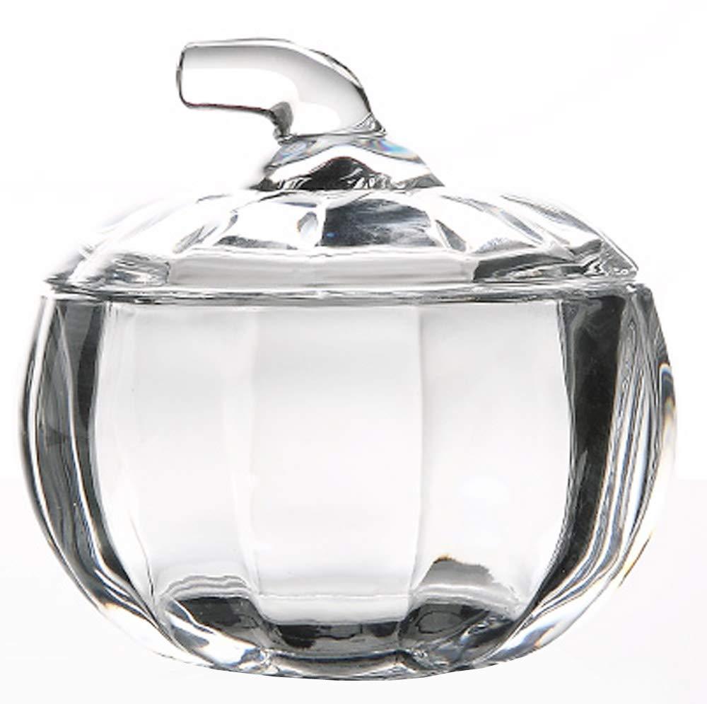 MISS TUTU Pumpkin Shape Crystal Glass Snack Jar Sugar Pot Storage Lid