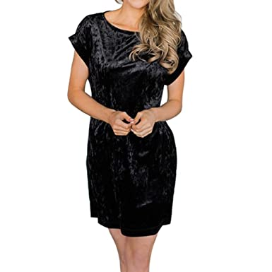 722b6dec8b8ba Paymenow Women s Casual Velvet Summer Crewneck Short Sleeve Party Mini  Dress Loose A Line Dress (