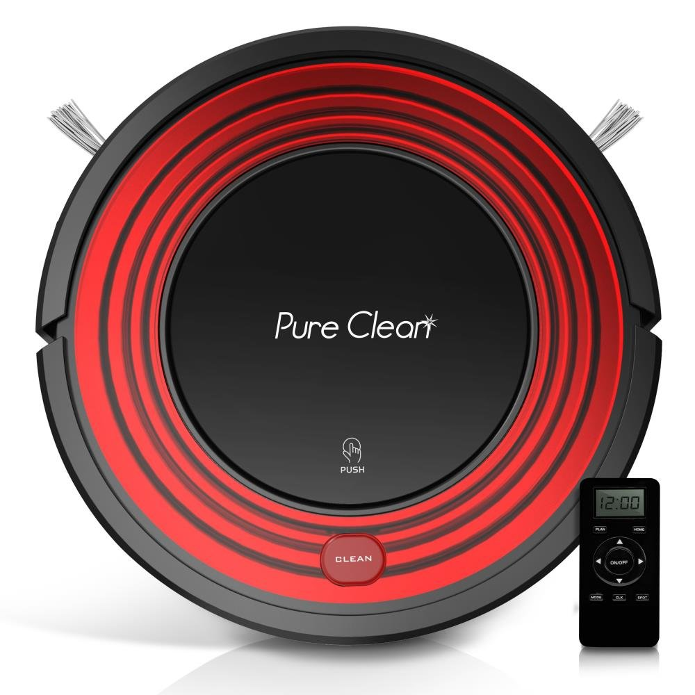 Automatic Programmable Robot Vacuum Cleaner - Robotic Auto Home Cleaning for Clean Carpet Hardwood Floor w/Self Activation and Charge Dock - HEPA Pet Hair & Allergies Friendly - PureClean PUCRC96B Sound Around