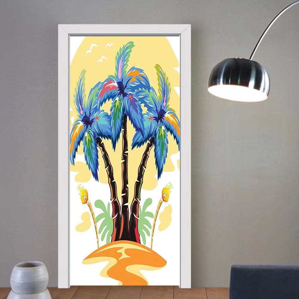 Gzhihine custom made 3d door stickers Palm Tree Decor Cartoon Palms Image Tropical Plant and Sand Serenity Nature Foliage Print Green Brown For Room Decor 30x79