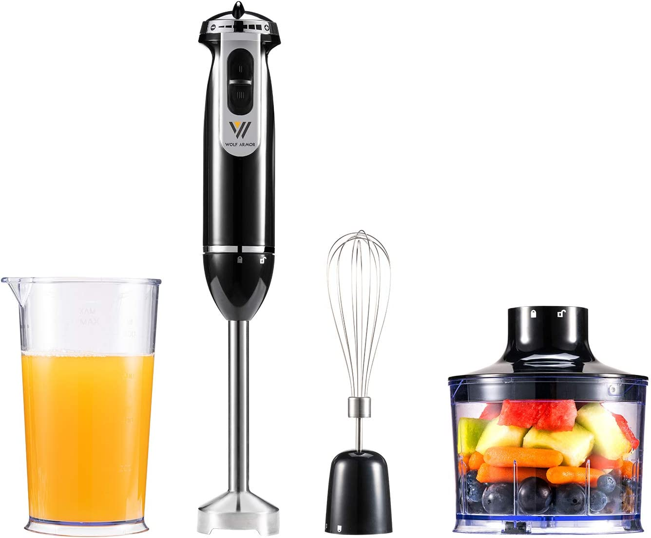 WOLF ARMOR 350 Watt 8-Speed Immersion Hand Blender, Emersion Blender, 3-In-1 Set Includes Detachable 304 Stainless Steel Stick Blender, Whisk, Chopper. For Puree Baby Food, Soup and Juices, BPA Free