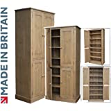 Solid Pine Storage Cupboard, Handcrafted & Waxed 4 Door Pantry, Larder, Linen, Filing, Dual Storage Kitchen or Hallway Cabinet. Choice of Colours. No flat packs, No assembly (CUP114)