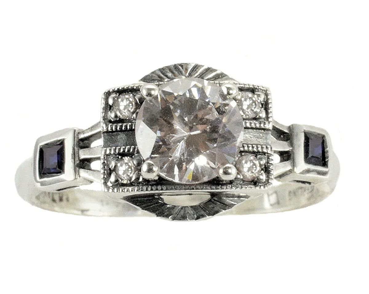 Jansjewells Art Deco Style Sterling Silver .85ct Cubic Zirconia and Sapphire Ring