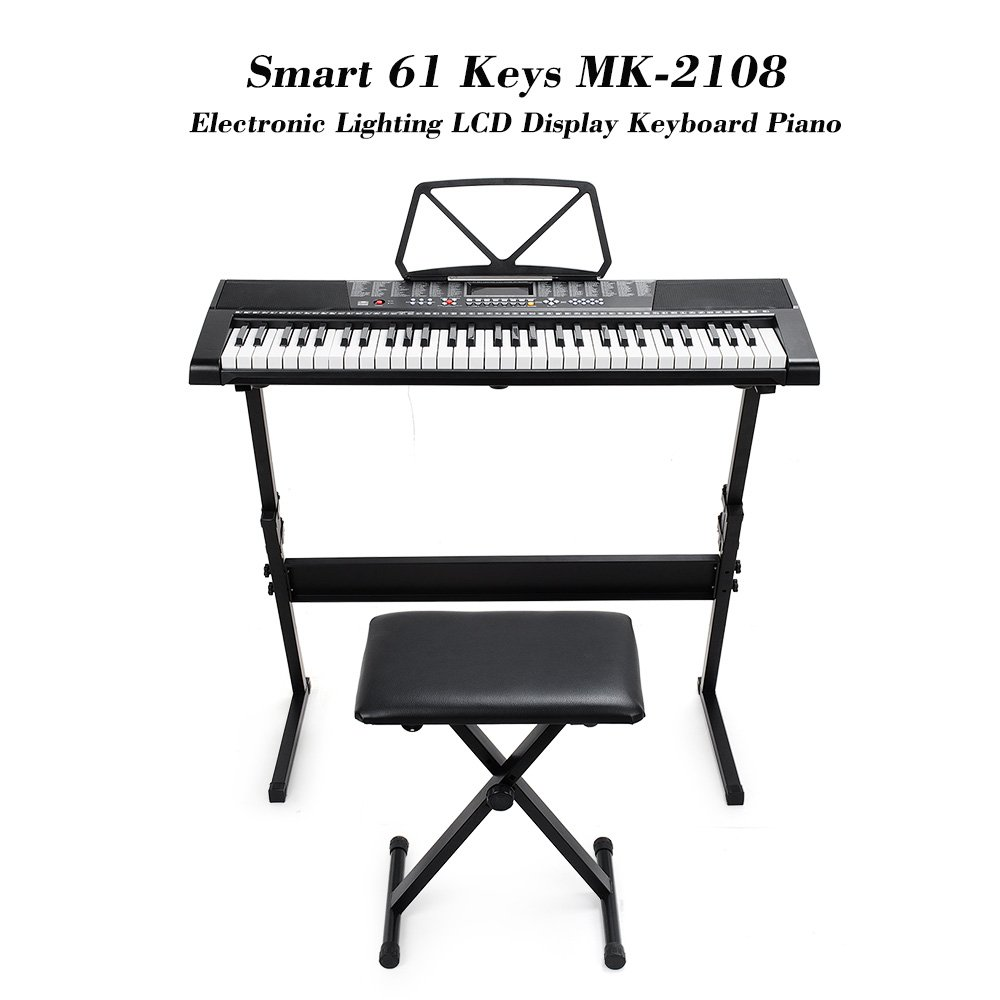 Vangoa 61 Keys Mk 2108 Electronic Lighting Lcd Display Wiring Devices Lebanon Keyboard Piano With Music Stand Screen Bench Microphone Headphone