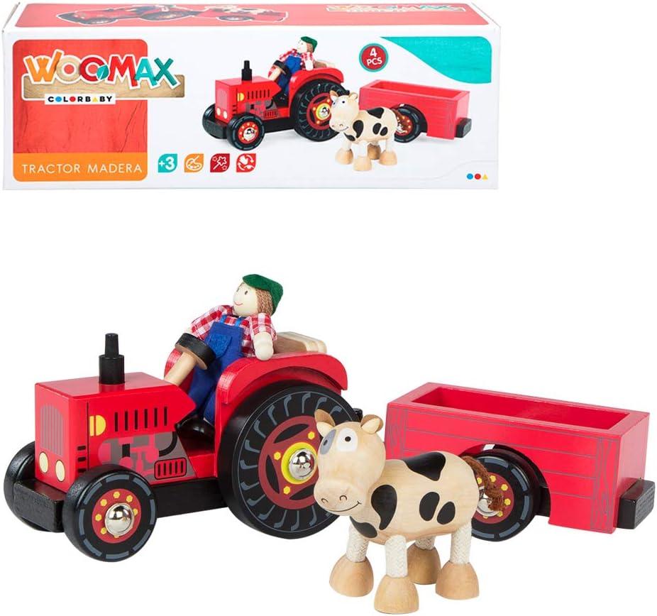 WOOMAX- Tractor de madera 33 cm (Colorbaby 43621) , color/modelo surtido