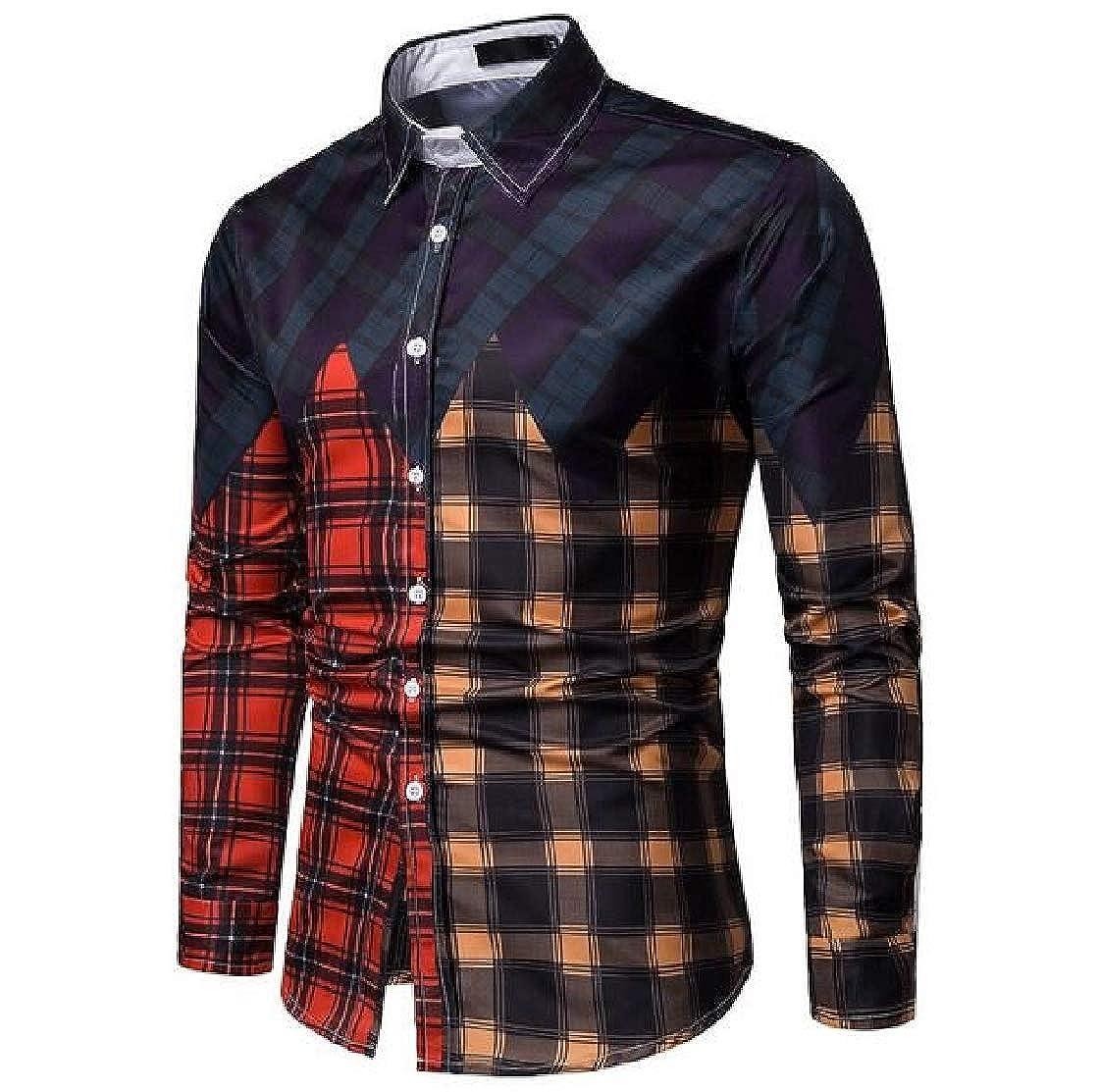 Macondoo Men Long-Sleeve Casual Plaid Stitching Easy-Care Shirt