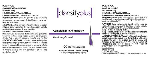 Densityplus, Suplemento capilar que potencia el crecimiento del cabello, lo fortalece y previene su caída. Saw Palmetto, Biotina, Zinc, Cobre, etc. 60 ...