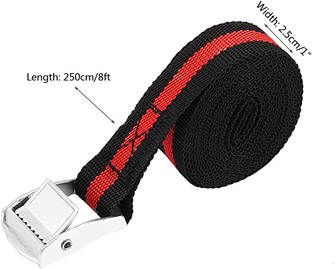 4PCS Qiilu Cargo Strap,8ft 1inch Ratchet Straps Car Truck Kayak Roof Rack Heavy Duty Tie Down Cargo Strap Up To 550lb