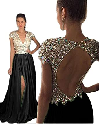 Amazon.com  Still Waiting Women s V Neck Sparkly Crystals Beads Prom ... 5497436eb