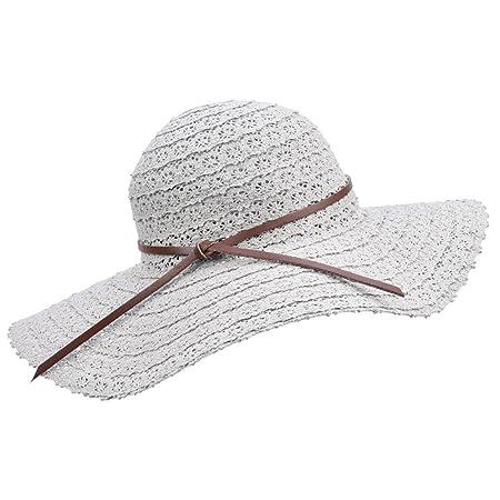 bd3ec89ef0c Women Foldable Wide Brimmed Straw Sun Hats Ladies Summer Beach Hats Lace  Light Grey  Amazon.co.uk  Kitchen   Home