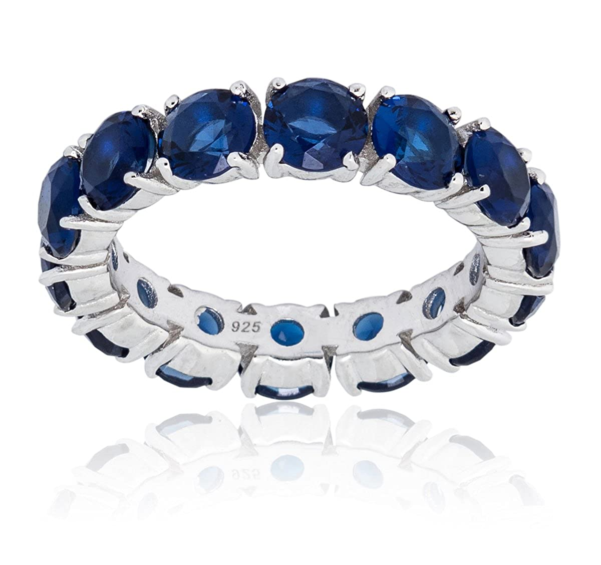Mia Sarine Round Simulated Blue Sapphire Eternity Band Ring for Women in Rhodium Plated Brass, (See More Sizes) Nes Jewelry NRB403278R-ZSP-Parent