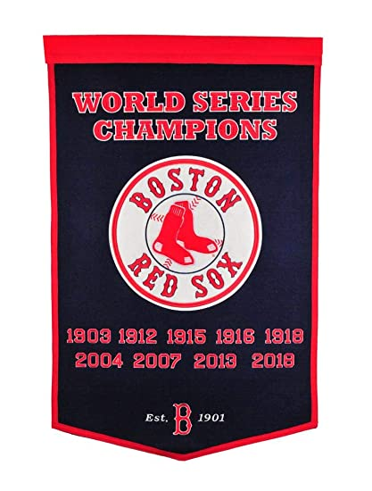 b924aa16130 Boston Red Sox World Series Championship Dynasty Banner - with hanging rod  at Amazon s Sports Collectibles Store