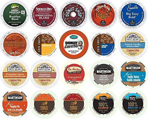 20-count K-cup Keurig Brewers Coffee Variety Pack Featuring Green Mountain, Newman's Organic, Coffee People, Emeril's, Donut House, Grove Square Cappuccino, Tim Hortons, Martinson, Marley & More
