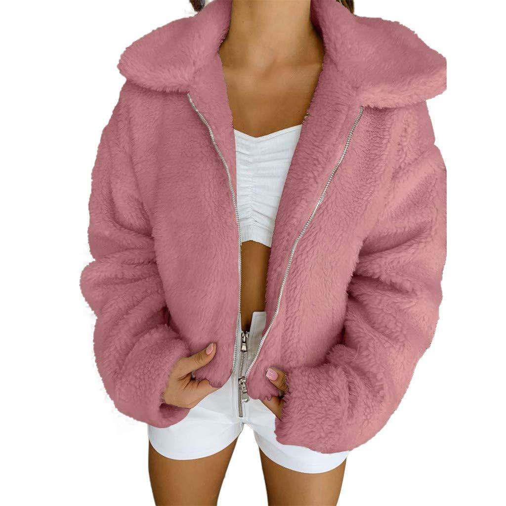 Redacel Women Girl Winter Warm Solid Color Faux Fur Coat Winter Outwear Fluffy Sweatshirt (XXXL,Pink) by Redacel