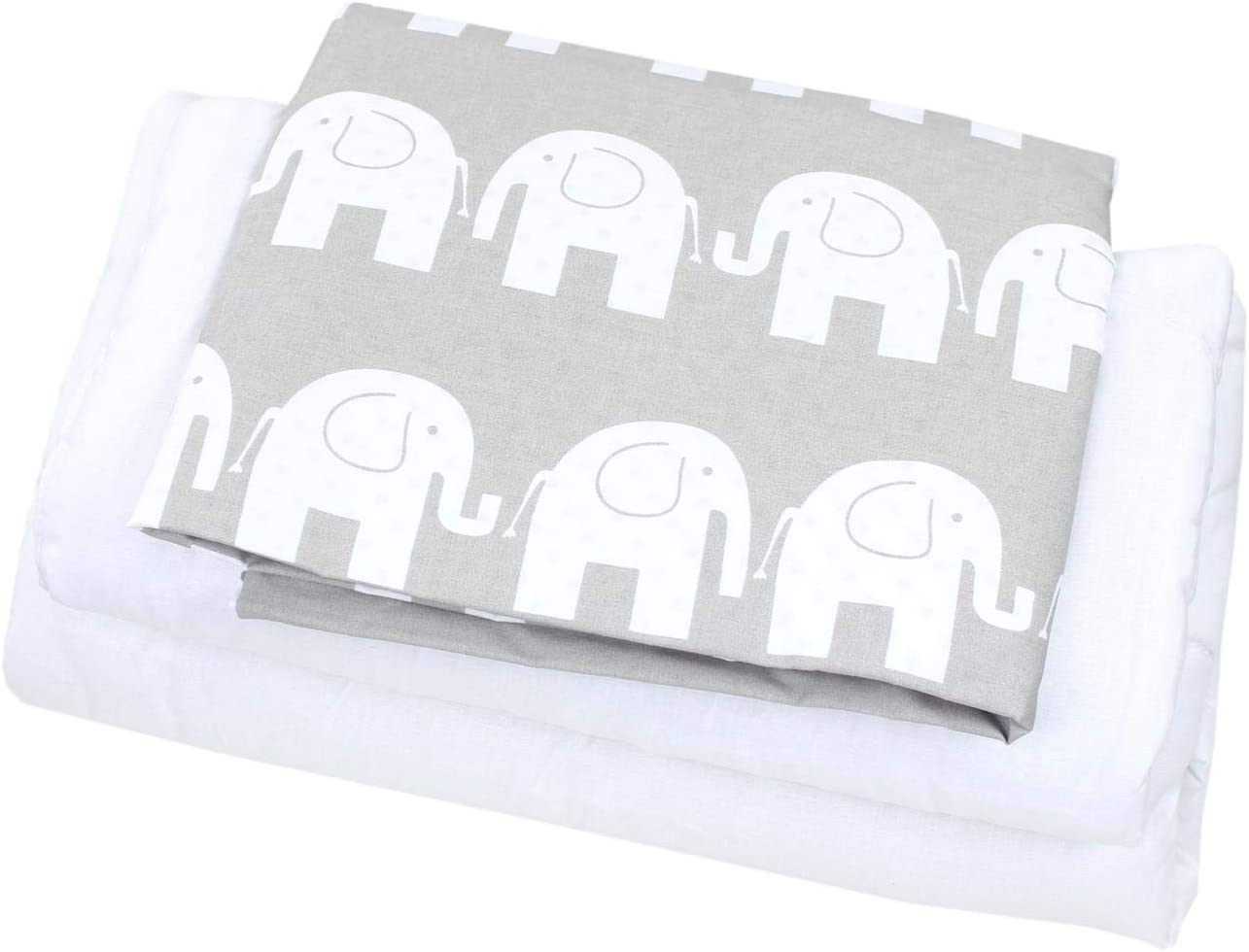 TupTam Baby Pram Crib Bedding Set Duvet and Pillow 4 pieces 80x80 cm Drops White//Drops Gray