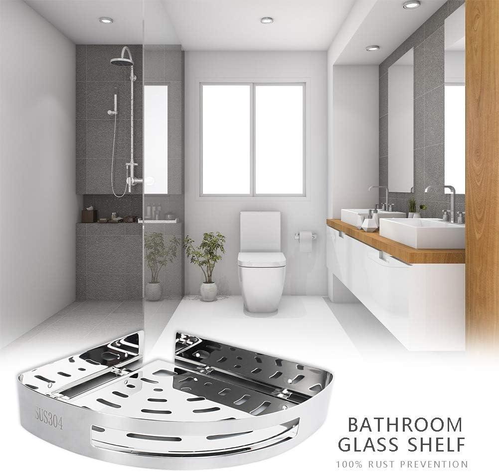 Lushandy /Étag/ère de salle de bain sans per/çage /Étag/ère de salle de bain Etag/ère de Douche Tr/épied perfor/é de cuisine d/étag/ère de salle de bains dacier inoxydable
