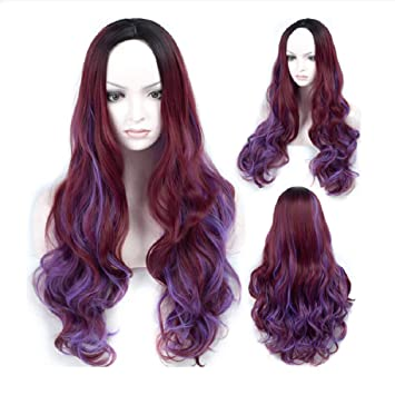 Woman Es Wig Farbig Lange Lockly Hair Lady Purple Braun Rot Lockly
