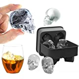 HKFV Magical Marvellous Pattern Design Skull Shape 3D Ice Cube Mold Maker Bar Party Silicone Trays Chocolate Mold Gift New Color Coming (Black)